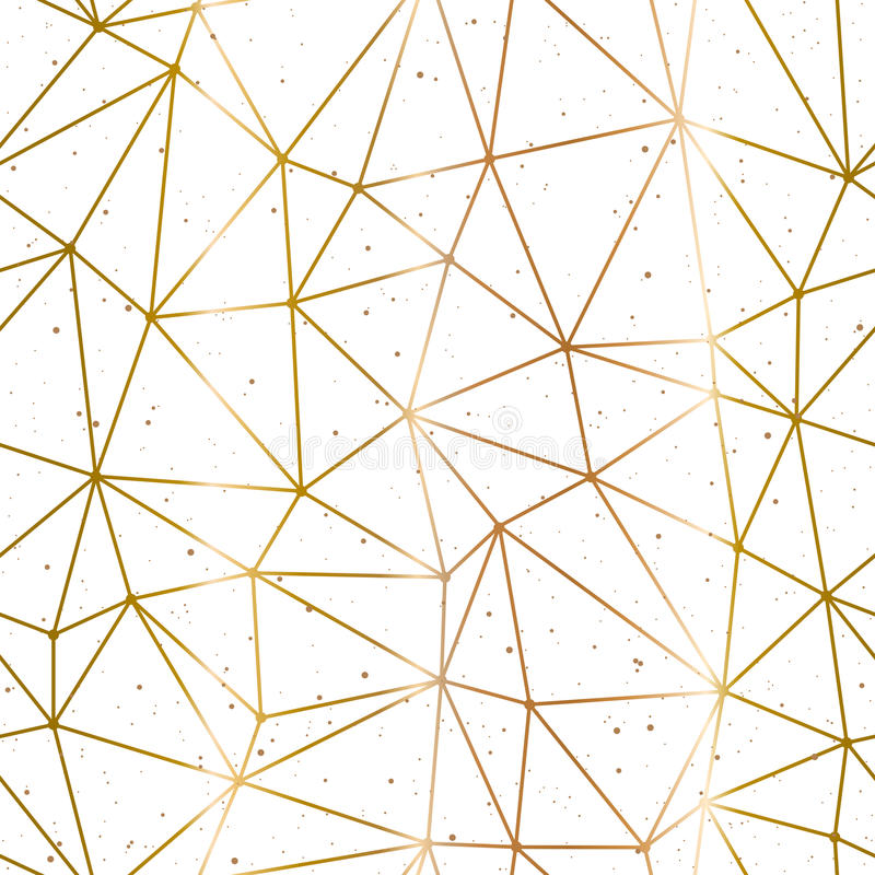 Geometric Polygonal Gold And White Background Vector Stock