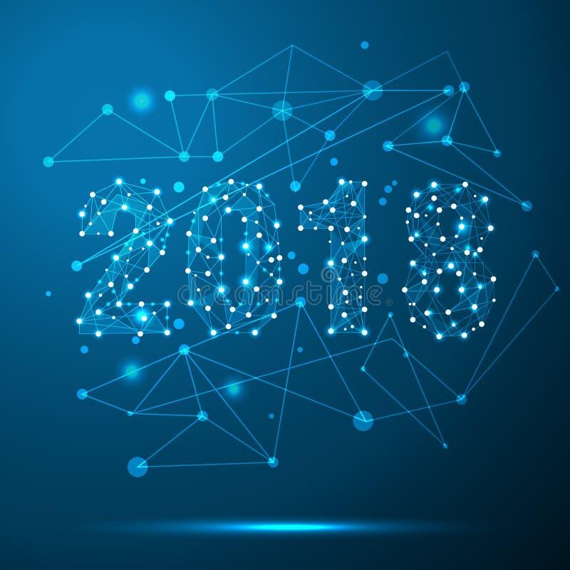 Geometric Polygonal 2018 New Year Greeting Card. Low Poly Triangle ...