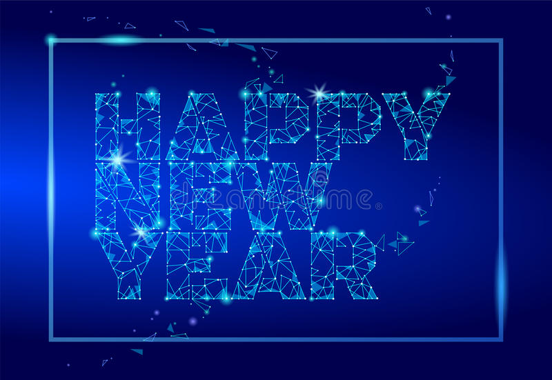 Geometric polygonal 2018 New Year Greeting card. Low poly triangle future technology dark blue background. Corporate business desi stock illustration