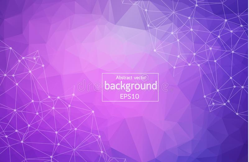 Geometric Purple Polygonal background molecule and communication. Connected lines with dots. Minimalism background. Concept of the. Science, chemistry, biology vector illustration