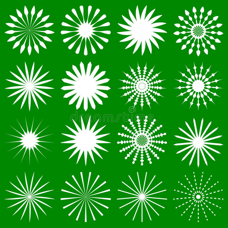 16 geometric radial elements - Various radiating symbols. Royalty free vector illustration stock illustration