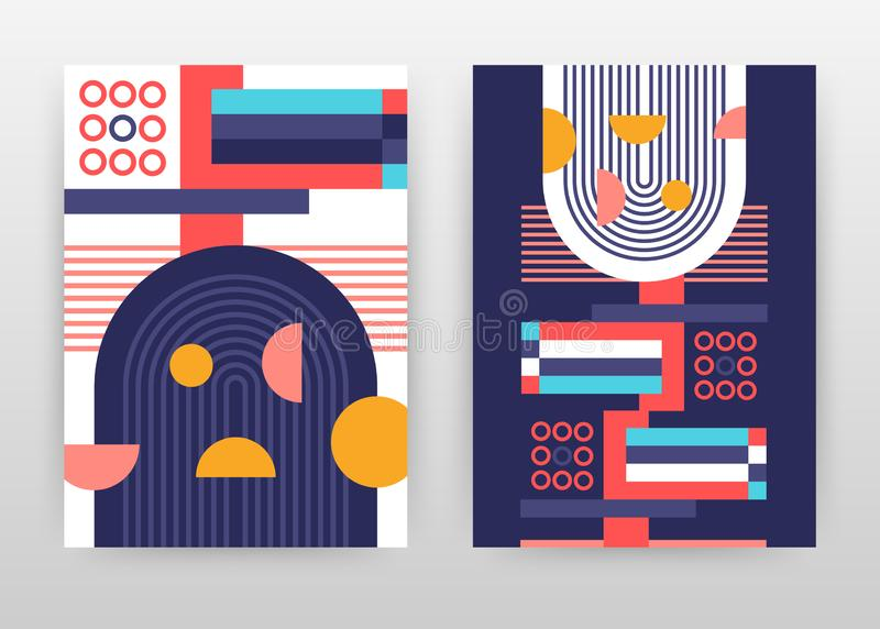 Geometric red, blue, lined round elements business background design for annual report, brochure, flyer, poster. Geometry abstract royalty free illustration