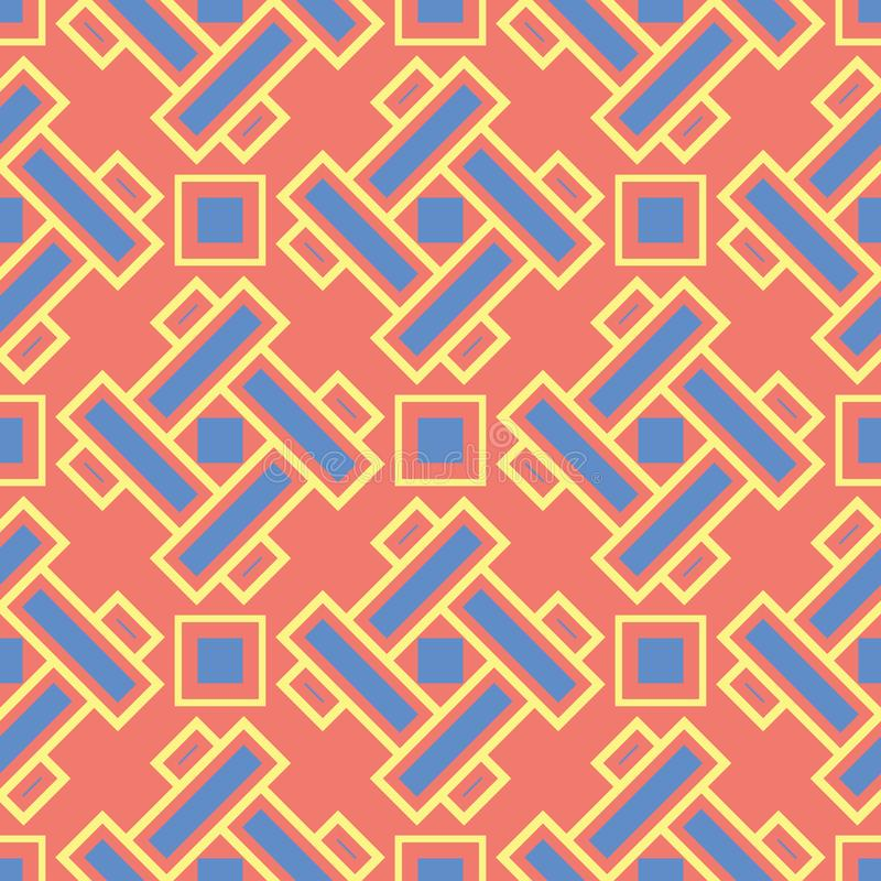 Geometric red orange seamless pattern. Bright background with blue and yellow design stock illustration