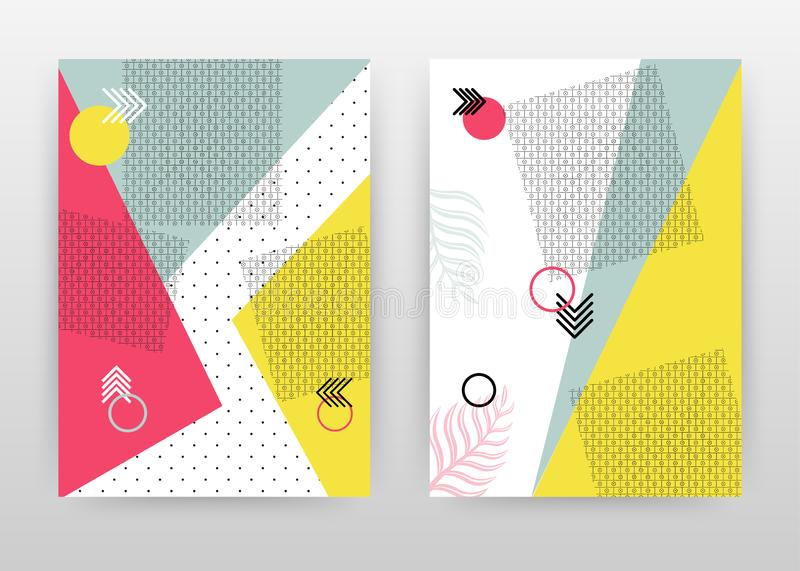 Geometric red, yellow, blue dotted shapes design for annual report, brochure, flyer, poster. Colorful abstract background vector vector illustration