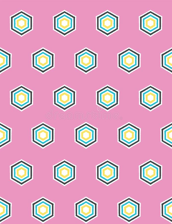 Geometric retro hexagon shape seamless pattern. All over print vector background. Summer 1950s quilt tile fashion style royalty free illustration