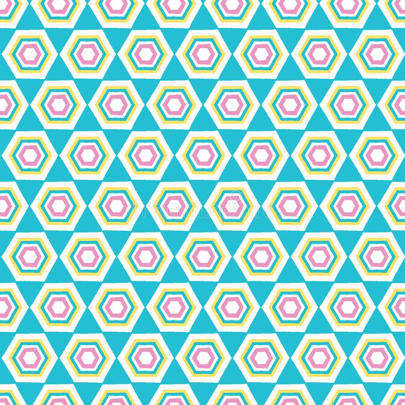 Geometric retro hexagon shape seamless pattern. All over print vector background. Summer 1950s quilt tile fashion style stock illustration