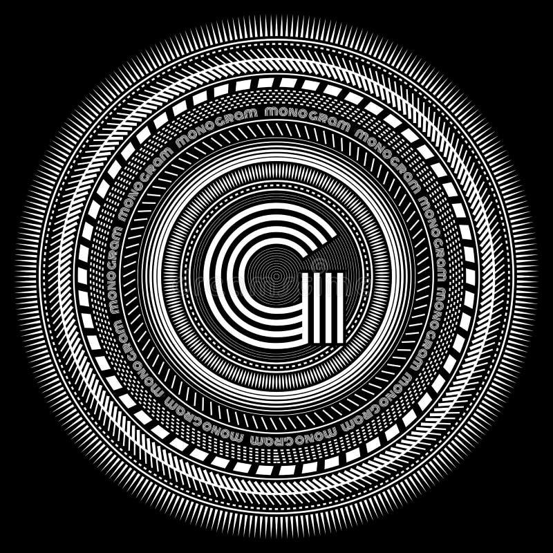 Geometric retro pattern for monogram or emblem. Stylish geometric retro pattern for monogram or emblem royalty free illustration