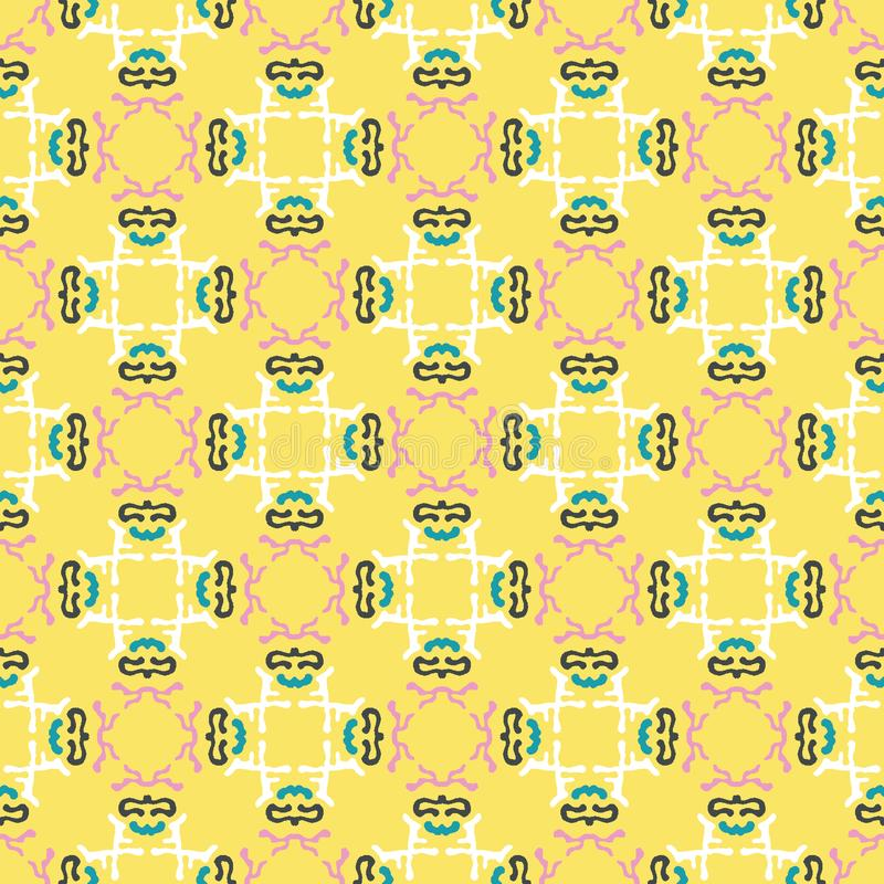 Geometric retro square shapes seamless pattern. All over print vector background. Pretty summer 1950s quilt tile fashion style. stock illustration