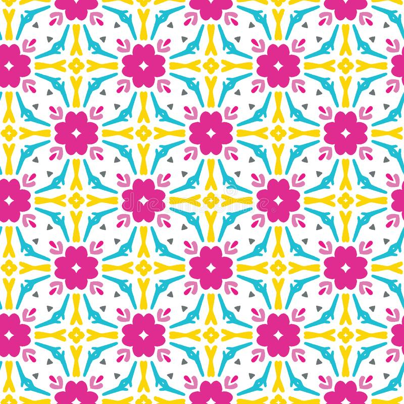 Geometric retro square shapes seamless pattern. All over print vector background. Pretty summer 1950s quilt tile fashion style stock illustration