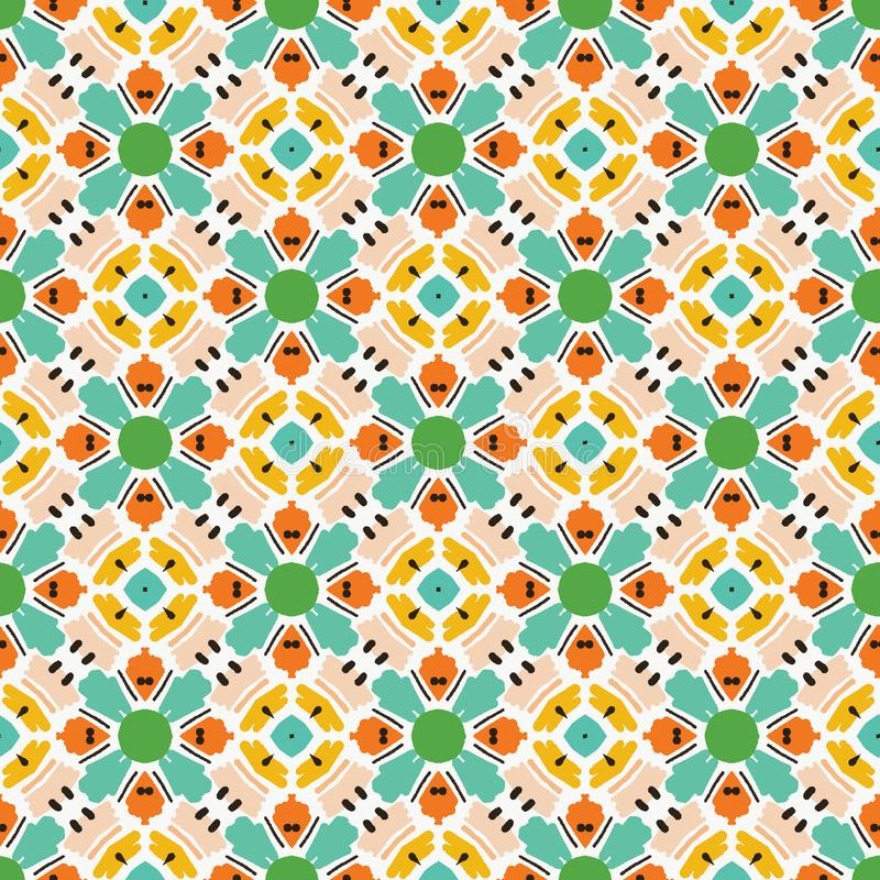 Geometric retro square shapes seamless pattern. All over print vector background. Pretty summer 1950s quilt tile fashion style. Trendy wallpaper, vintage home royalty free stock photo
