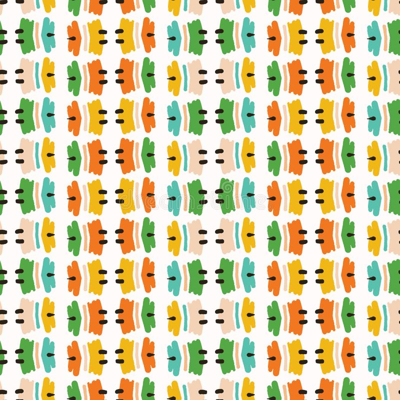 Geometric retro tribal mark stripes seamless pattern. All over print vector background. Summer bright ethnic shapes fashion style. Trendy bold wallpaper royalty free stock image