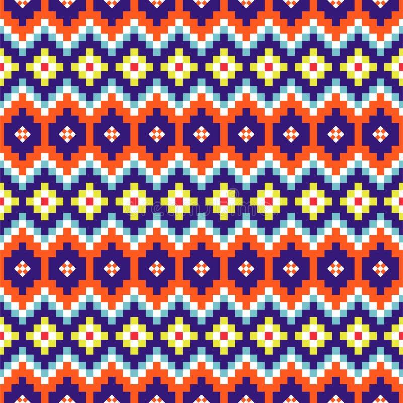 Geometric rhobmus seamless blue and orange chevron pattern pixel blocks shapes texture. stock illustration