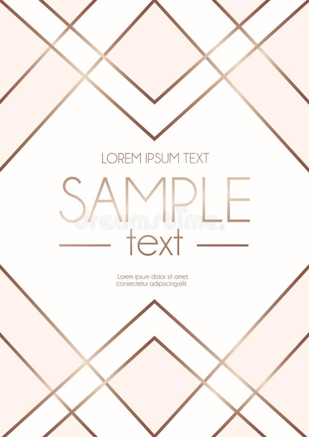 Geometric rose gold design template with blush pink and white ab. Stract shapes. Modern design template for wedding invitation, greeting card, anniversary