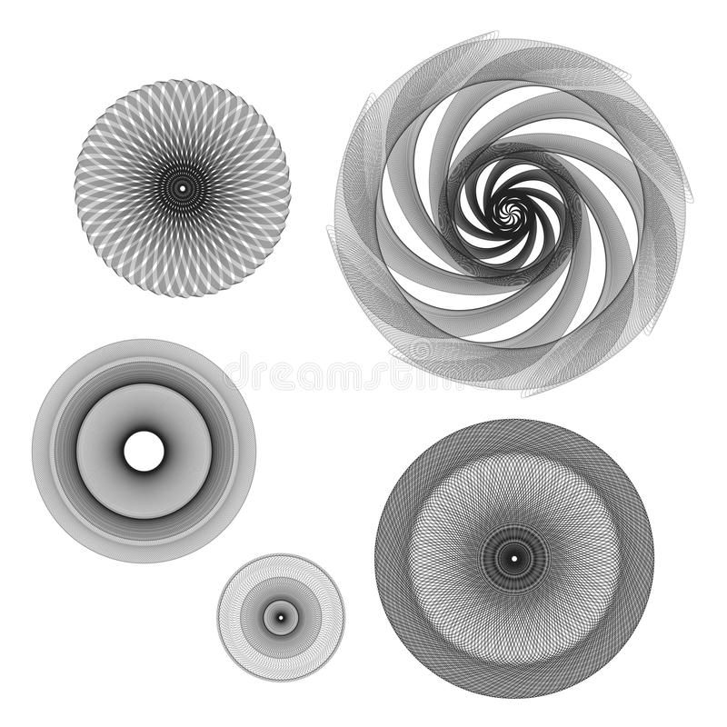 Geometric rotary rosette. stock images