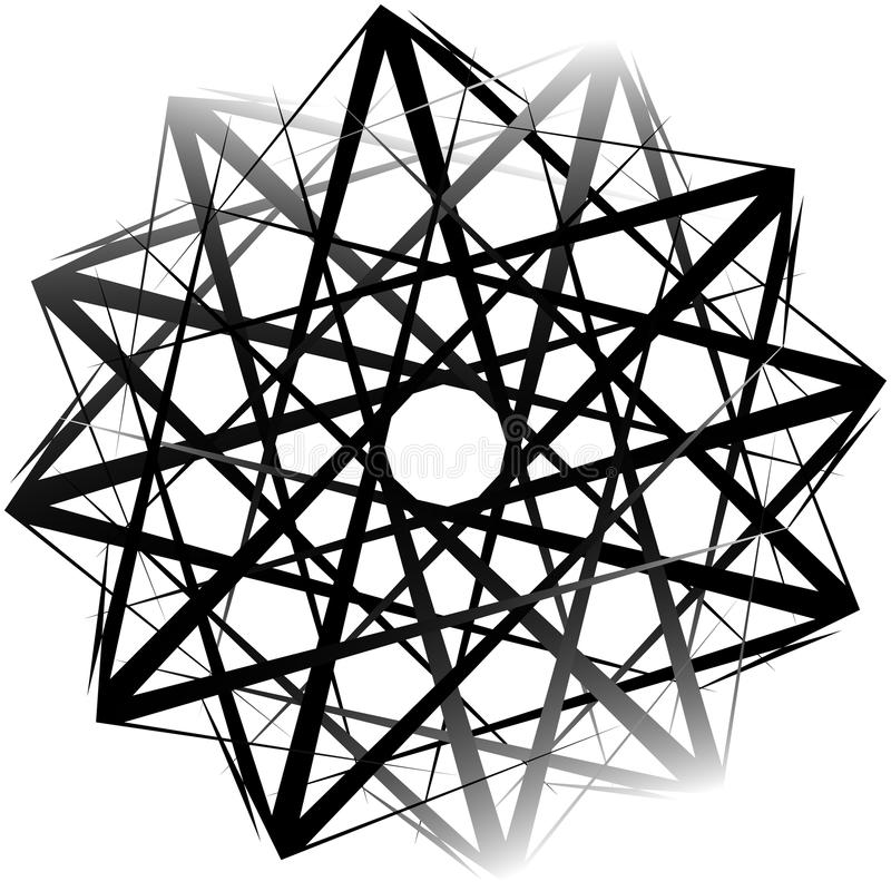 Geometric rotating form. Editable vector illustration. Royalty free vector illustration stock illustration