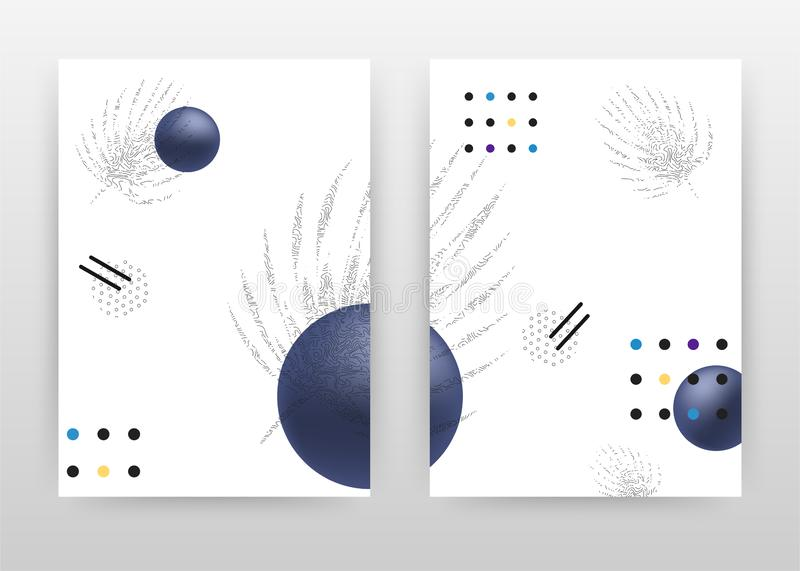 Geometric round blue dotted textures on white design for annual report, brochure, flyer, leaflet, poster. Flower petal on white. Background. Abstract A4 vector illustration