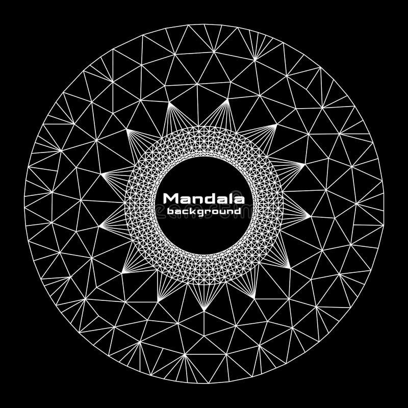 Geometric round form. Abstract geometric round form mandala, white on black background stock illustration