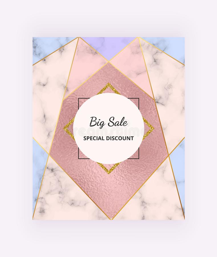 Geometric Sale banner with golden lines and triangle shapes, foil texture on the marble background. Modern template for design soc royalty free illustration