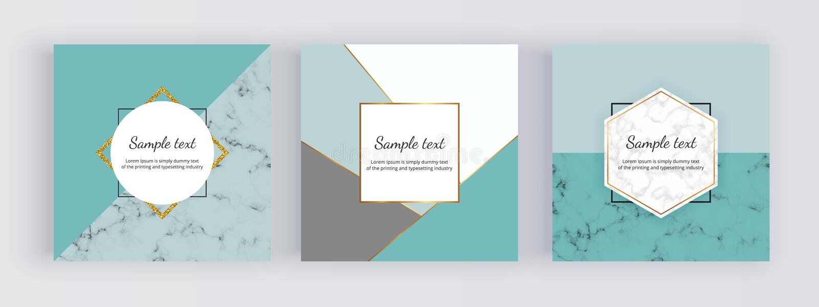 Geometric sale web banners with mint triangles, golden lines. Modern promotion fashion design with marble texture. Template for mo vector illustration