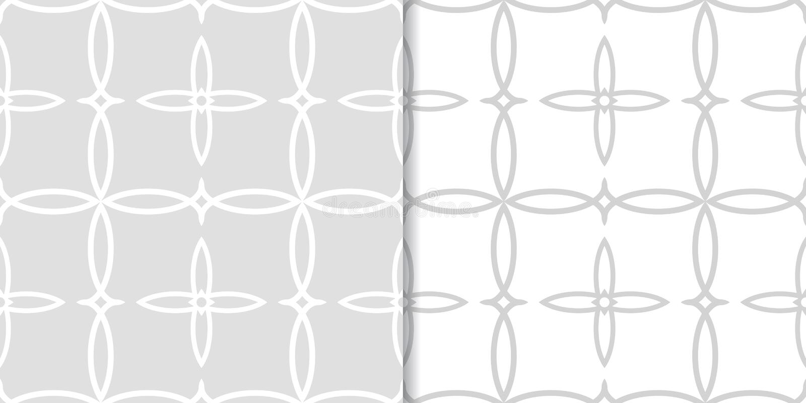 Geometric seamless background. Gray wallpaper with floral elements royalty free illustration