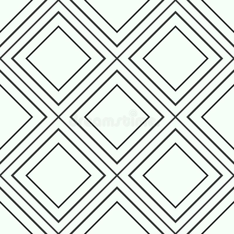 Geometric seamless black and gold pattern of diagonal lines or strokes, abstract background of golden shiny and black rhombus, squ royalty free illustration