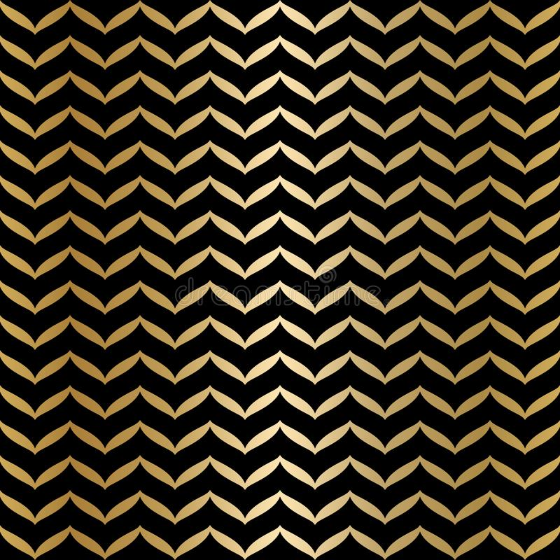 Geometric seamless black and gold texture. Golden wrapping paper pattern background. Simple luxury graphic print. Vector repeating. Striped modern swatch stock illustration