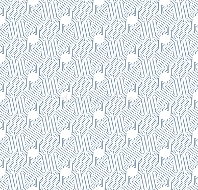 Geometric seamless pattern. Abstract vector background. Geometric seamless pattern of thin blue lines on the white background. Vector illustration. Abstract stock illustration