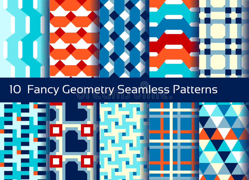 Geometric seamless pattern background. Set of 10 abstact motifs vector illustration