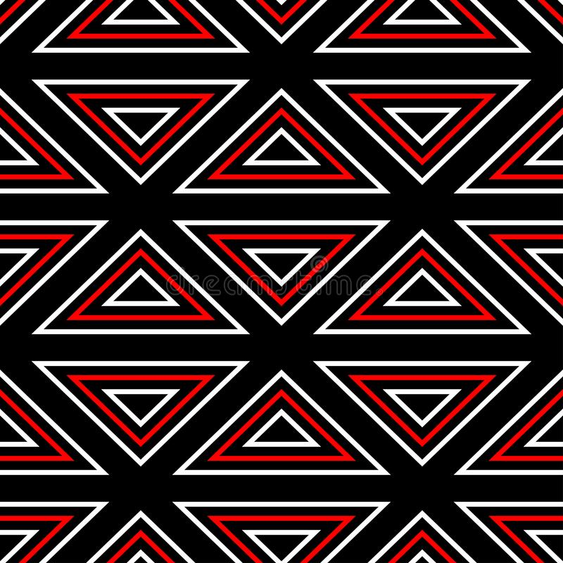 Geometric seamless pattern. Black red white background royalty free illustration