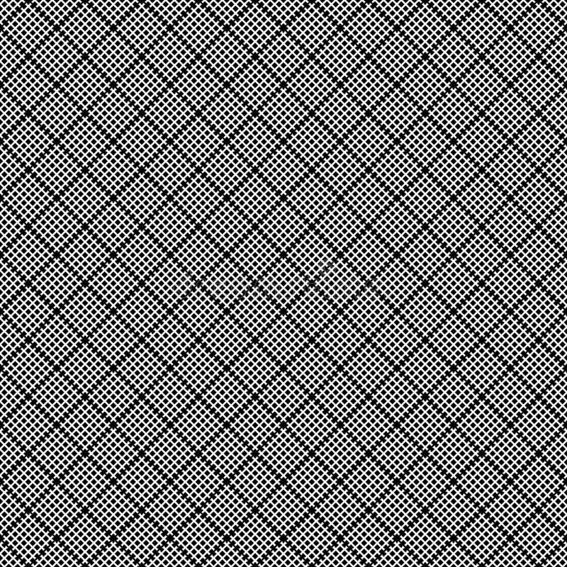 Geometric seamless pattern with black and white cross lines, monochrome braided ornament, classical hatching, graphic texture. Dec royalty free illustration