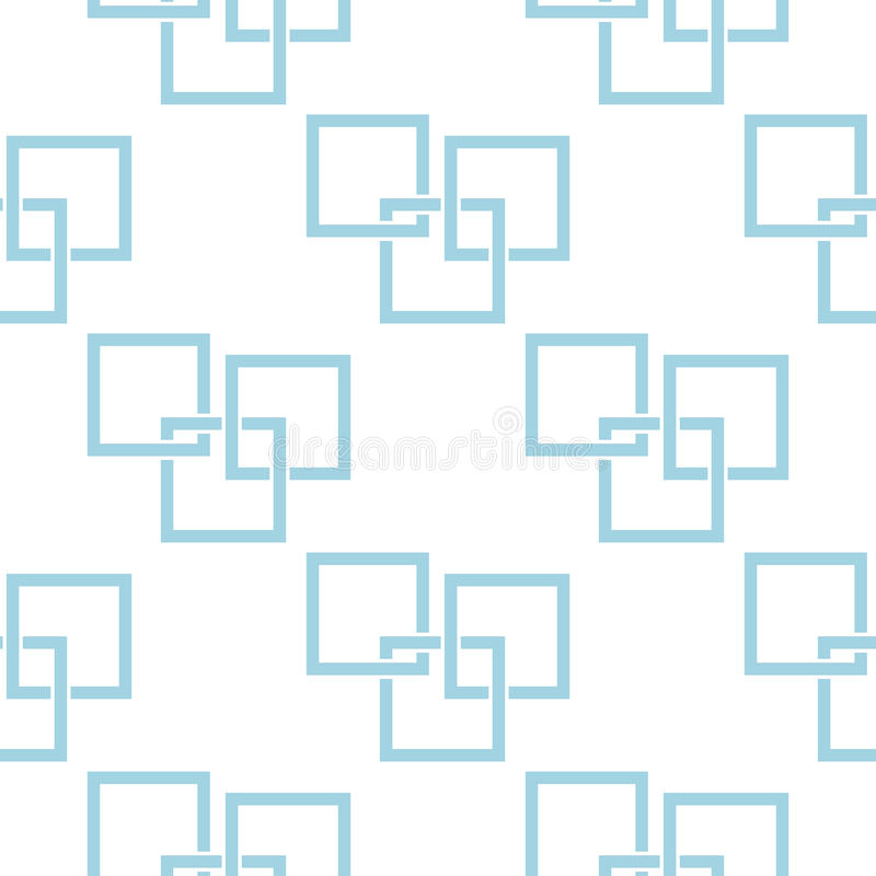 Geometric seamless pattern. Blue and white abstract background with square elements stock illustration