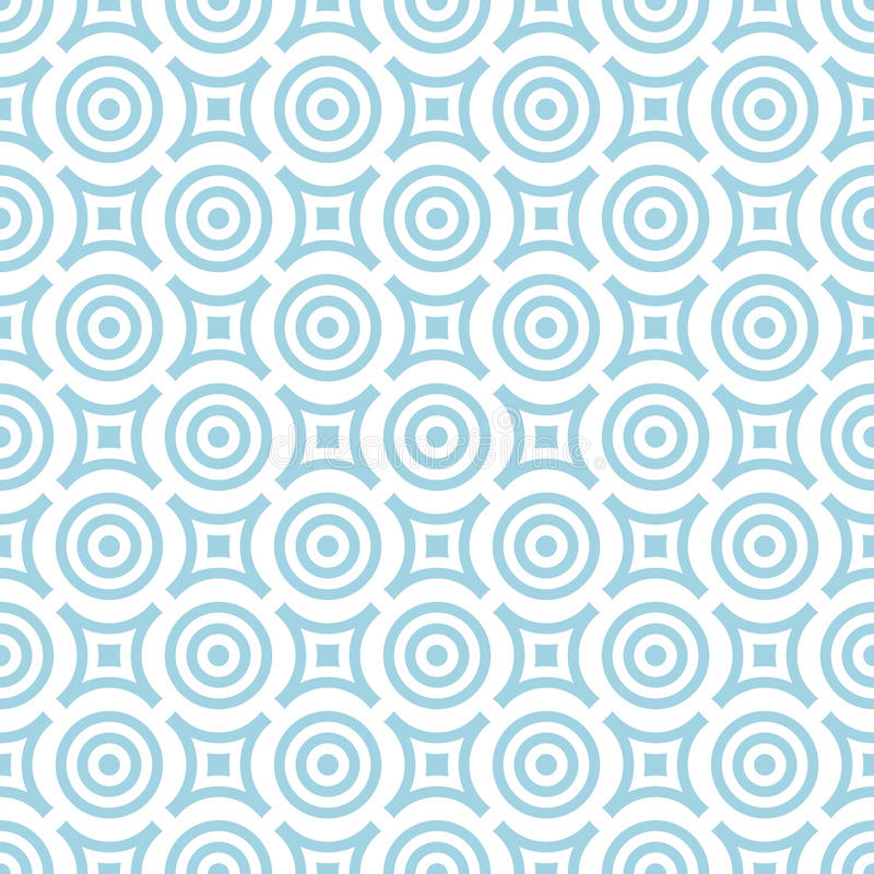 Geometric seamless pattern. Blue and white background with circle elements stock illustration