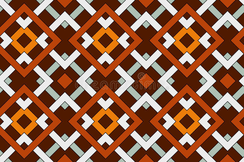 Geometric seamless pattern with celtic ornament of brown, orange, gray, and white shades royalty free illustration