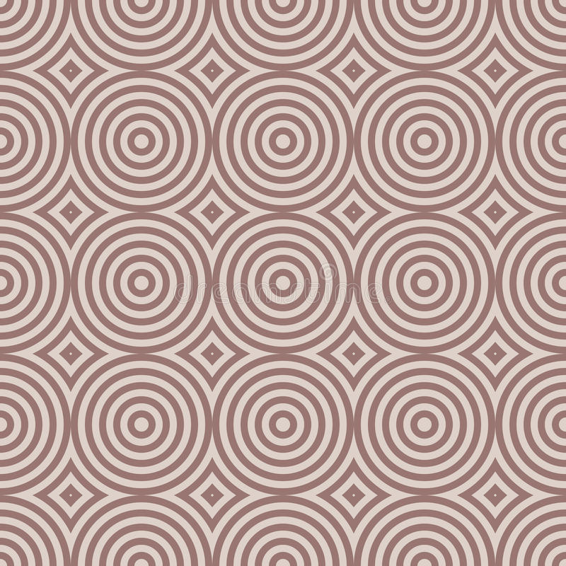 Geometric seamless pattern with circle elements. Brown textile or wallpaper background stock illustration