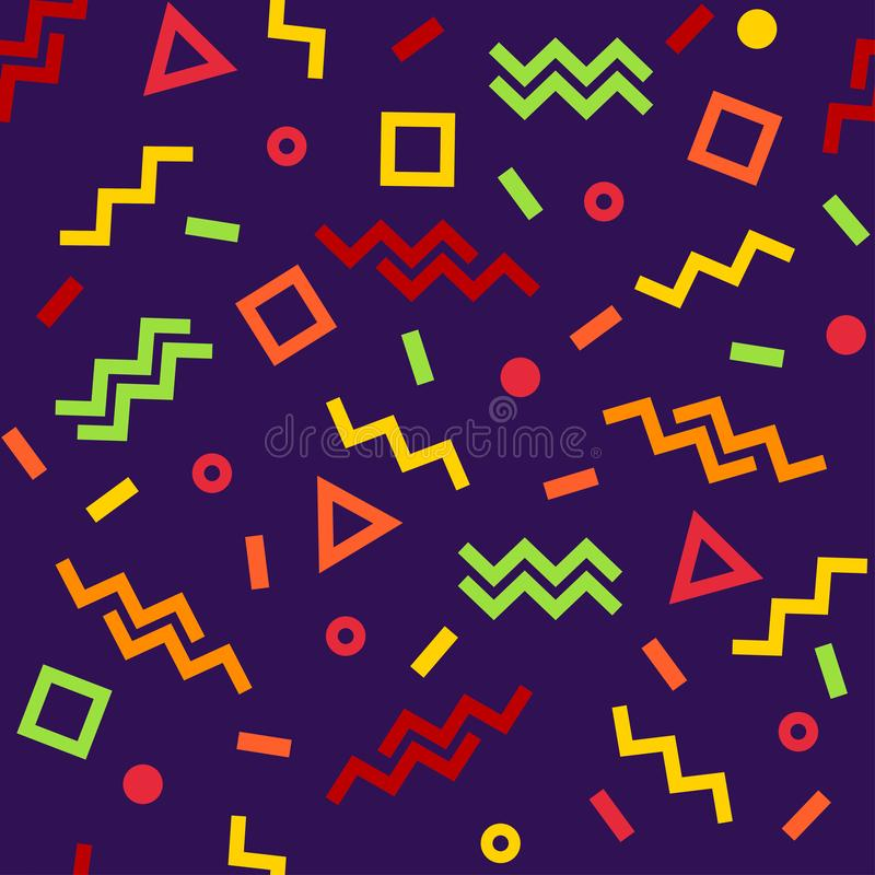 Geometric seamless pattern, colorful shapes on dark purple background. Vector royalty free illustration