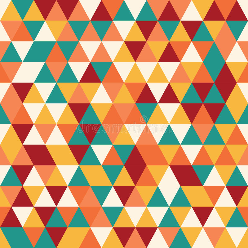 Geometric seamless pattern with colorful triangles in retro design. Vector illustration stock illustration