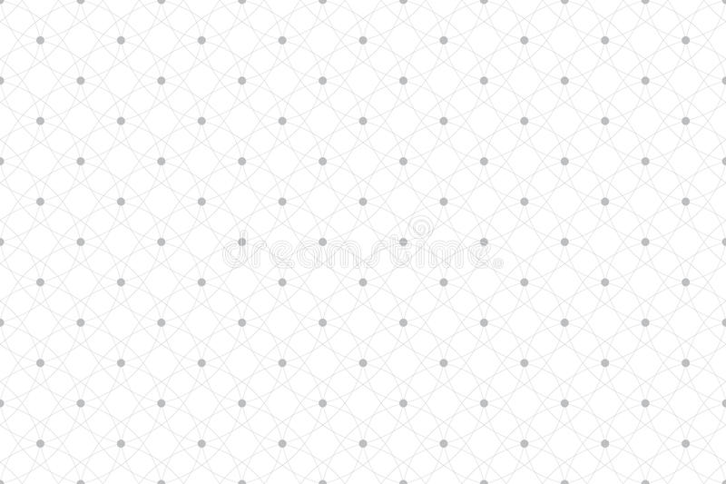 Geometric seamless pattern with connected lines and dots. Fabric texture. Lines plexus circles. Graphic background stock illustration