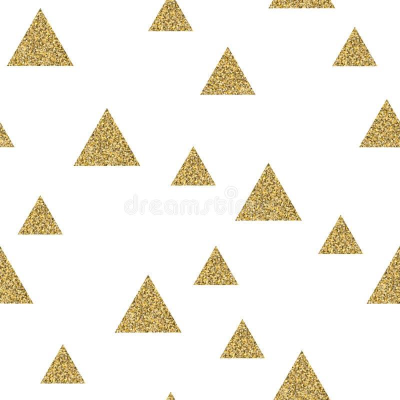 Geometric seamless pattern of gold glitter triangle confetti on white background. royalty free illustration