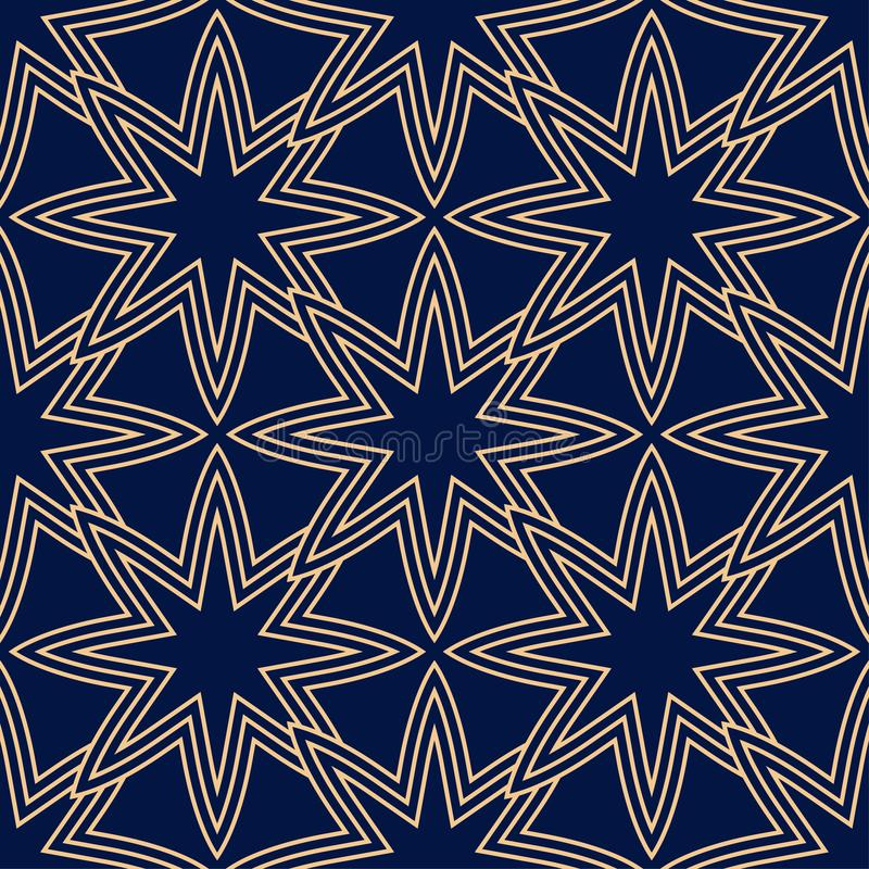 Geometric seamless pattern. Golden blue ornamental design stock illustration