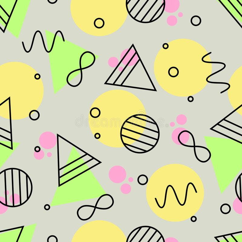 Geometric Seamless Pattern of Green, Pink, Yellow and Black Outlined Shapes. royalty free illustration