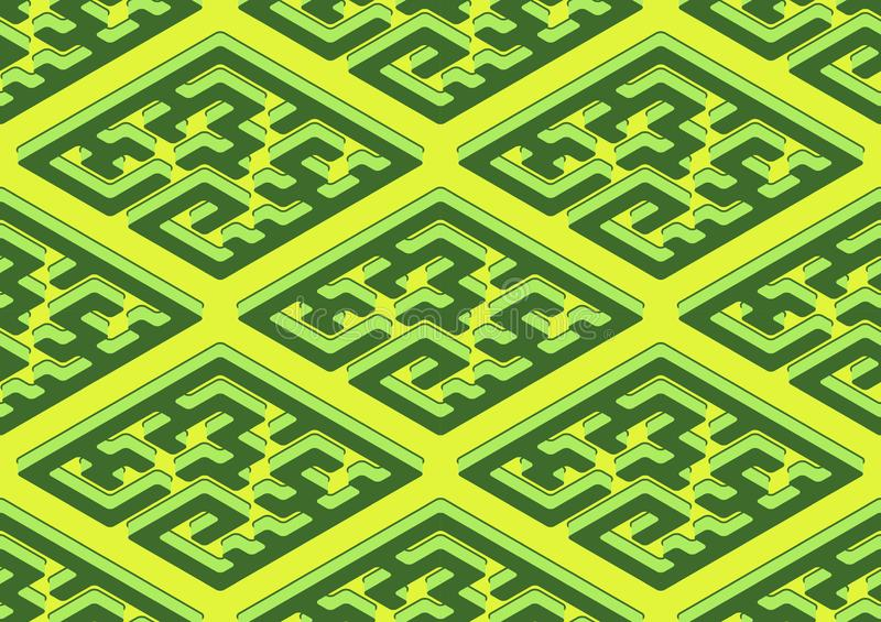 Geometric seamless pattern in green and yellow color. royalty free illustration