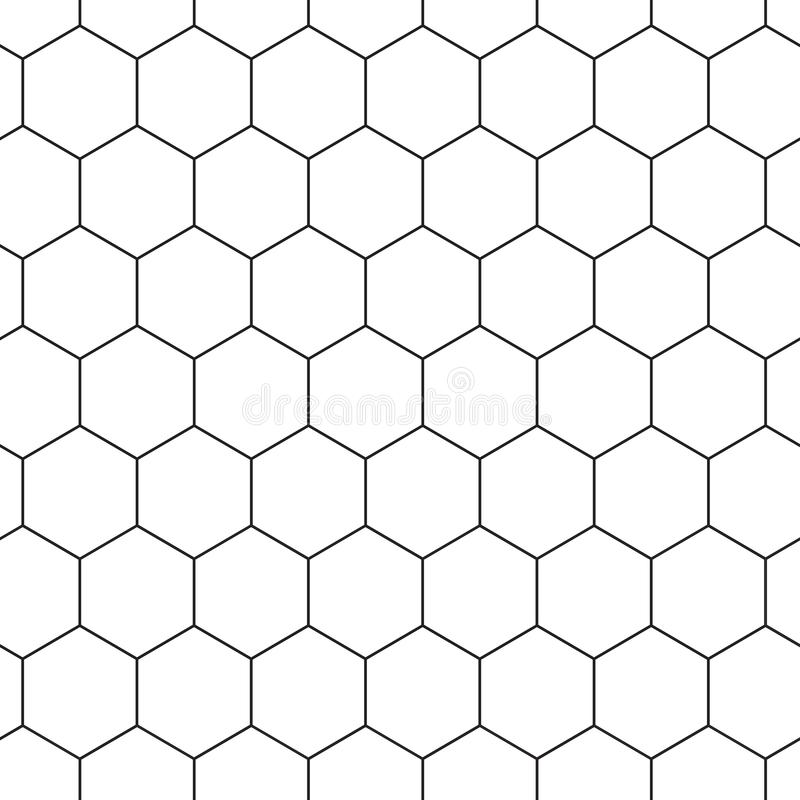 Geometric seamless pattern with hexagons, black and white tile. Honeycomb background. Outline design. Vector royalty free illustration