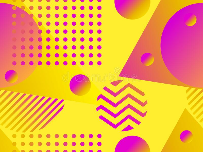 Geometric seamless pattern with liquid gradient. Triangles, circles and points. Trendy background. Vector. Illustration stock illustration
