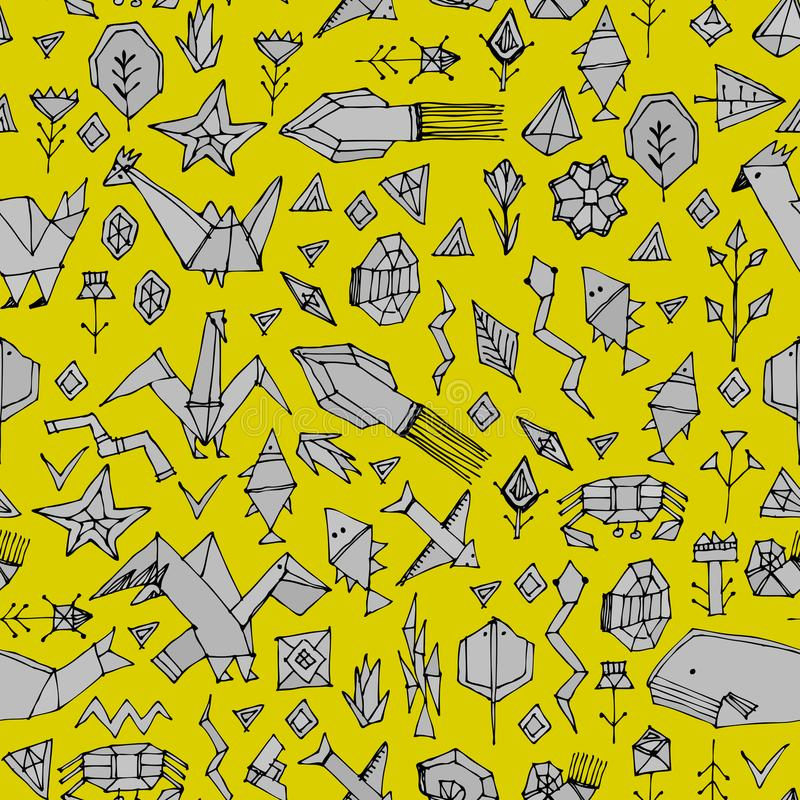 Geometric Seamless Pattern With Marine Animals And Plants, Black ...