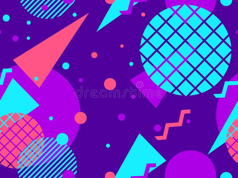 Geometric seamless pattern in the memphis style of the 80s. Violet tones. Vector. Illustration vector illustration