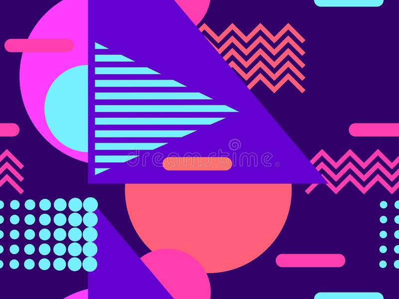 Geometric seamless pattern in the memphis style of the 80s. Violet tones. Vector. Illustration stock illustration