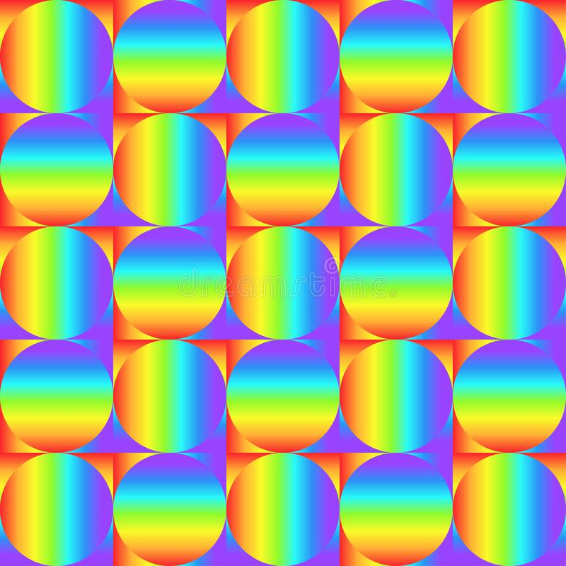 Geometric seamless pattern with multicolored gradient squares and circles, rainbow color abstract ornament, prism graphic texture. vector illustration