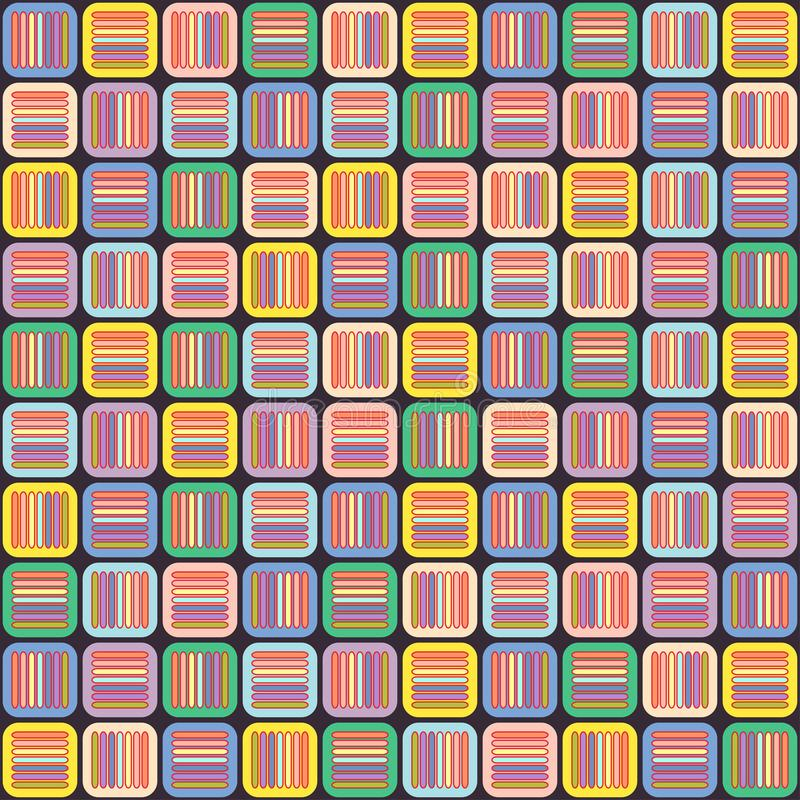 Geometric seamless pattern with multicolored pastel cross lines in squares, vintage braided ornament, graphic texture. Abstract st stock illustration