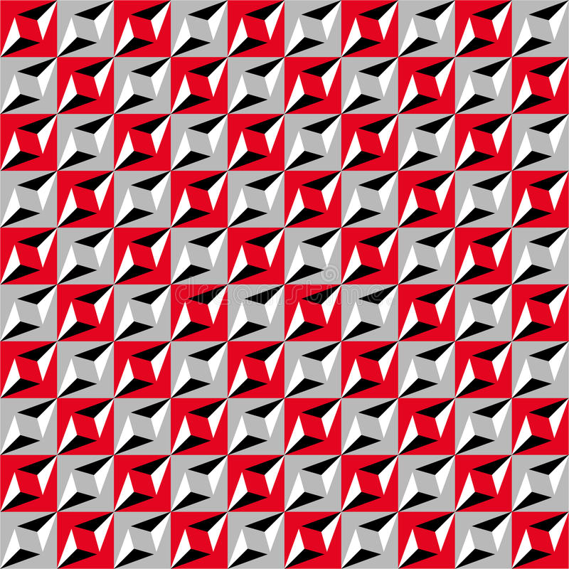 Geometric seamless pattern, optical illusion, vector background. Ornament from red, gray, white and black squares, triangles and l royalty free illustration