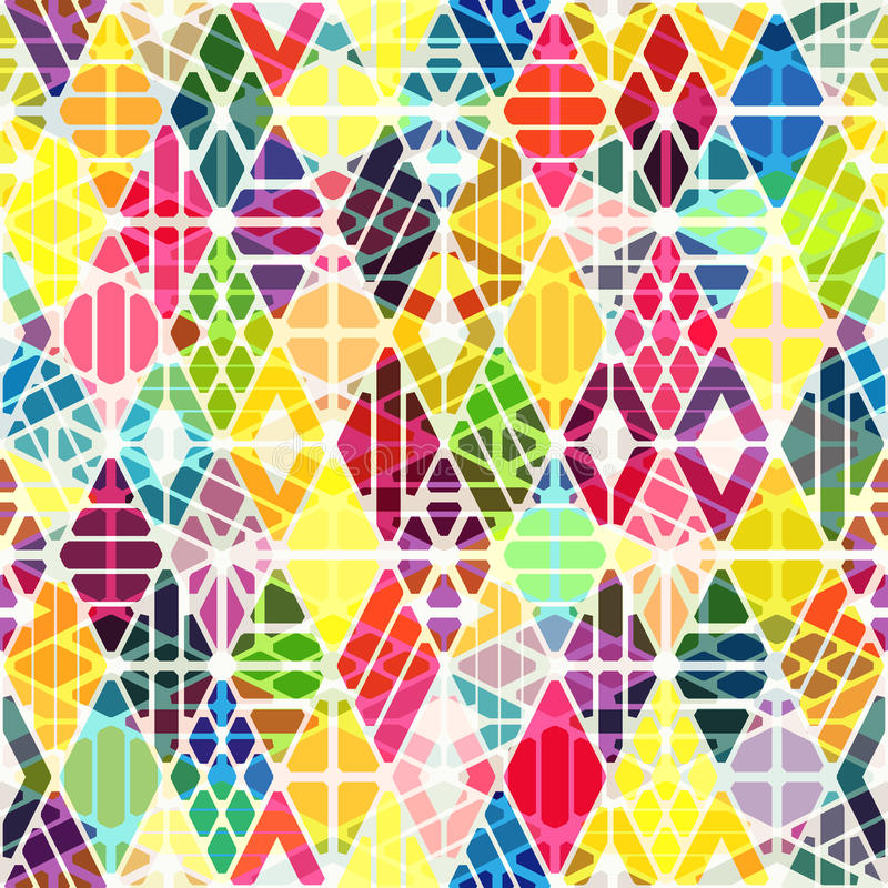 Geometric seamless pattern. With overlay effect. Colorful background with rhombuses stock illustration